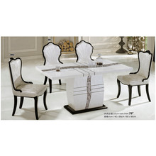 Modern luxury glass Marble top solid wood base dinning table set