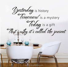 restaurant wall decoration 3d art vinyl inspirational quote yesterday is history tomorrow today decorative items for living room