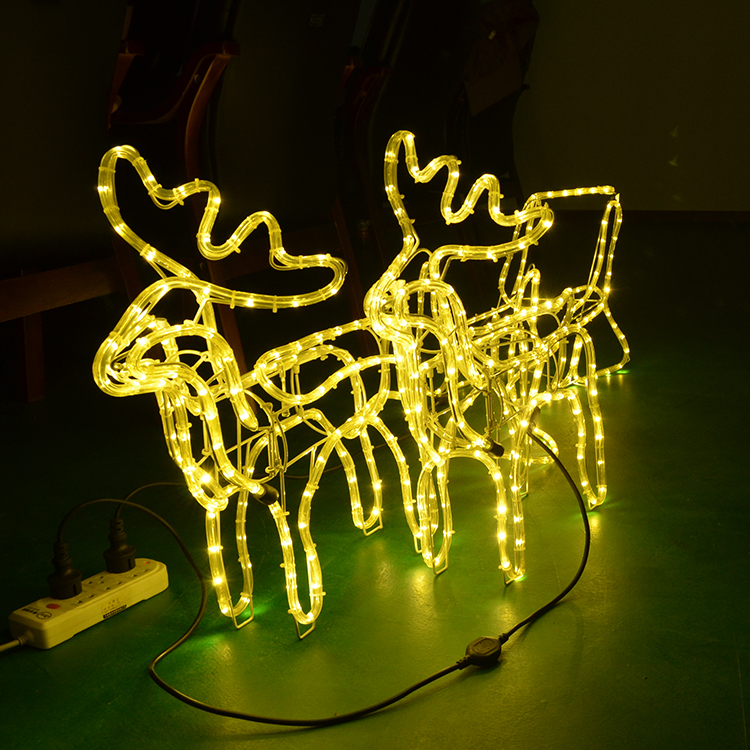 Outdoor Christmas Light Iron Frame And Led Rope Make Artificial Reindeer With Sleigh Christmas 3d