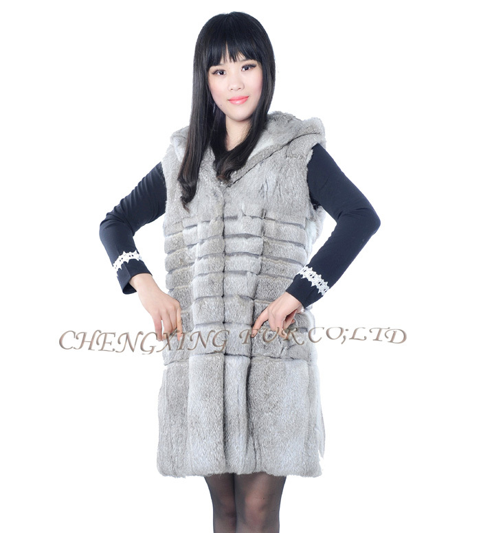 CX-G-B-124 China Suppliers Women Fashion Real Rabbit Fur Leather Vest