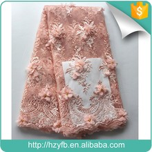 Fresh pink flower embroidery summer beautiful 3d lace fabric on soft mesh