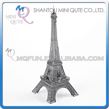 Mini Qute 3D Metal Puzzle Silver Eiffel Tower world architecture famous building Adult model educational toys gift NO.P003-S