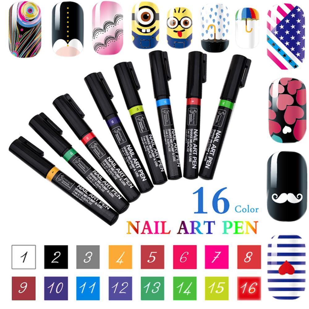 Fashion Nails Tools 12colors Nail Art Polish Pen For: Aliexpress.com : Buy 16 Colors 3D Nail Art Pen DIY Paint