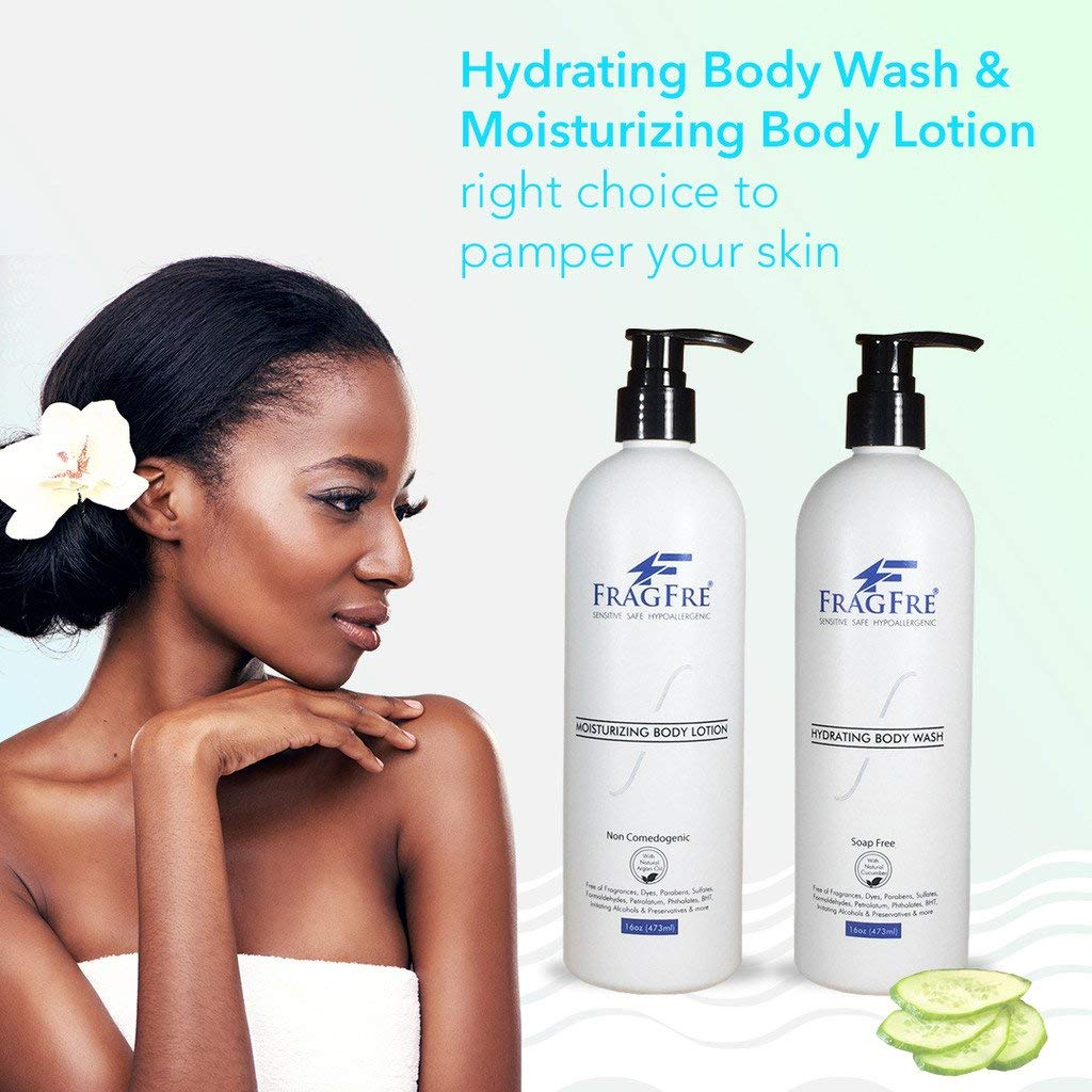 FRAGFRE Body Wash and Lotion Set - Fragrance Free Hypoallergenic Sulfate Free Parabens Free Set 2/Pack 16 oz ea - with Natural Cucumber, Argan Oil & Non Nano Zinc Oxide