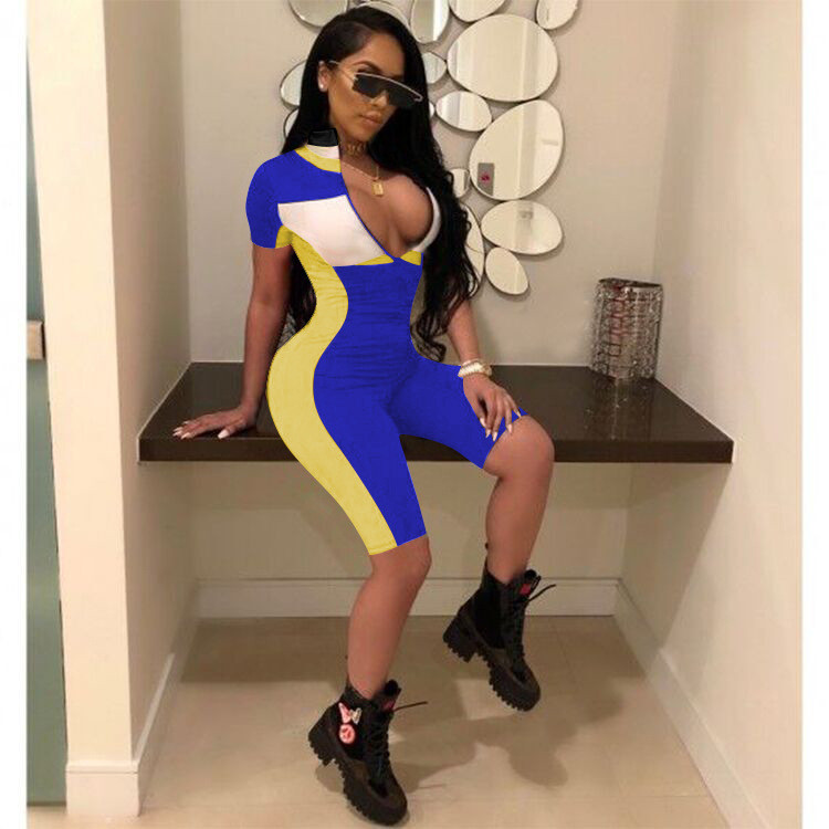2019 Fashion new design sex girl printed women sport bodycon jumpsuit