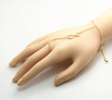 Sexy Slave Gold Silver Tone Chain Link Hand Harness Finger Rings Bracelet Bangle