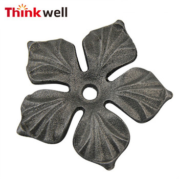 Self-Color Ornamental Wrought Iron Casting Flower for Fence Gate