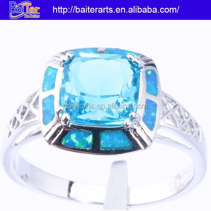Hot !Custom 925 Sterling Silver Opal Halo Setting Blue Sapphire Engagement Rings Jewelry