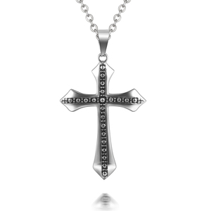 Stainless Steel Punk Mens Cross Pendant Necklace Male Box Chain Necklace New Fashion Jewelry Gift