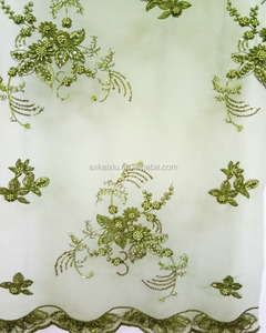 3D hand embroidery with beads on the mesh fabric for top dress skirt