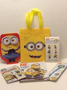 Minions Despicable Me 2 Christmas Holiday Gift Set Bundle - 5 items - Coloring Book, Glow Wand, Grab and Go Play Pack, Tattoos, Minions Sketchbook