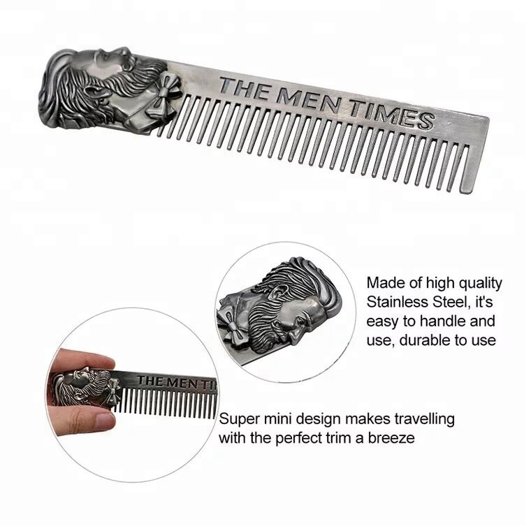 JDK Barbero Beard <strong>Hair</strong> <strong>Comb</strong> Stainless <strong>Steel</strong> Moustache Lice <strong>Comb</strong>