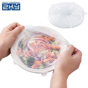 FDA Custom 6 Pack Reusable Silicone Stretch Food Storage Fruit Fresh Jar Bowl Can Cover Lids