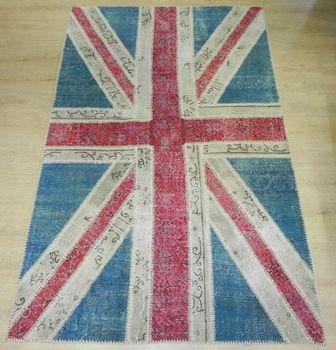 Lovely British Flag Patchwork Carpet   Union Jack Design Patchwork Rugs    Patchwork Rug   Made From