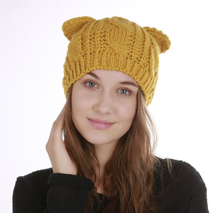 Pure Color Winter Hat Ladies Warm Comfortable Beanie Winter Knit Hat With Cat Ear