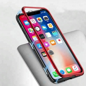 Metal Magnetic absorption Tempered glass Protect shell phone Case for iphone x
