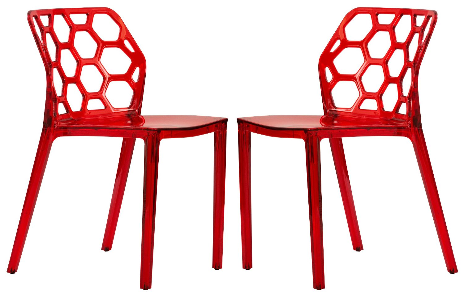 LeisureMod Lowell Modern Stackable Honeycomb Design Dining Side Chair, Set of 2 (Transparent Red)