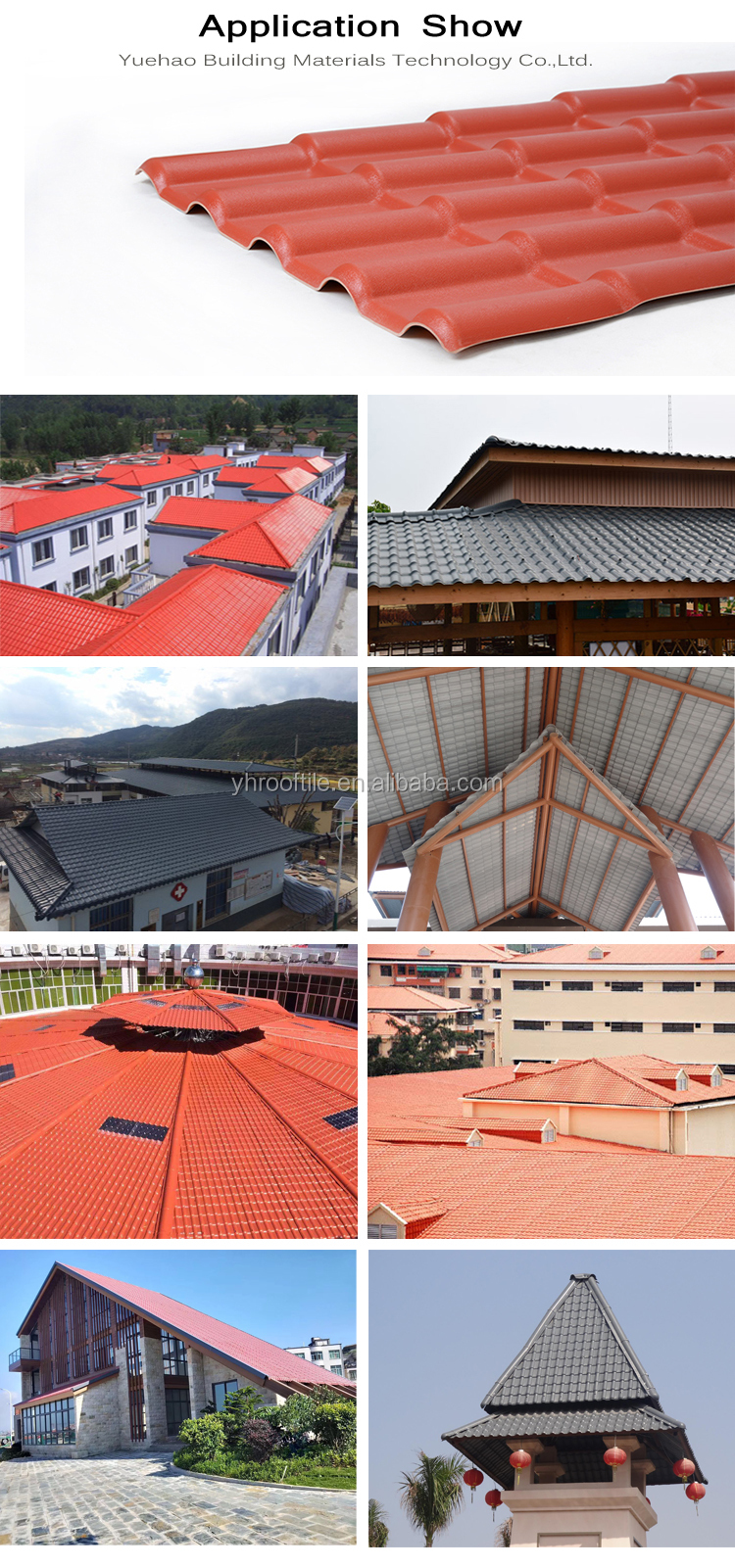 Yuehao plastic roof tiles wholesaler tiles lightweight plastic roof tiles design for water draining-5