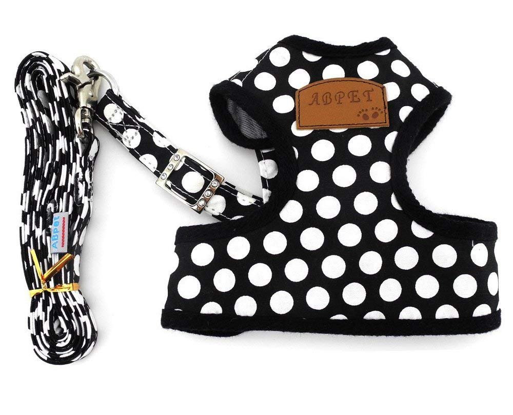 Yunt Breathable Soft Mesh Adjustable Cute Polka Dot Pet Dog Harness Puppy Chest Vest Dog Leash Set