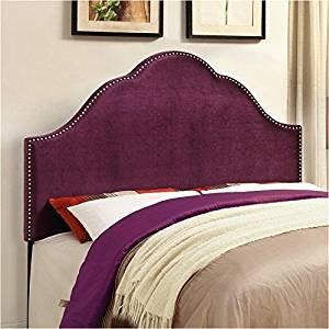 Pemberly Row Queen Velvet Upholstered Headboard in Purple