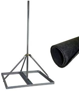 """EZ NP-60-200 Non-Penetrating Roof Mount with 2"""" x 60"""" Mast Bundle with ROHN FRMMAT Rubber Roof Mat"""