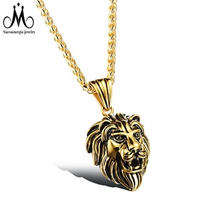 Charm Fashion Men Vintage Jewelry Gold Silver Color Lion Head Stainless Steel Pendant
