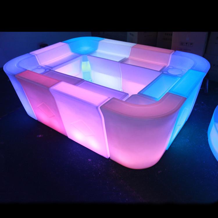 Şarj edilebilir led ışıklı bar tezgahı/LED çubuk sayacı/plastik gece bar masası su geçirmez gece kulübü için