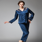 style generic silk pajama lady spring and autumn nine points sleeve casual home wear lace pajama suit