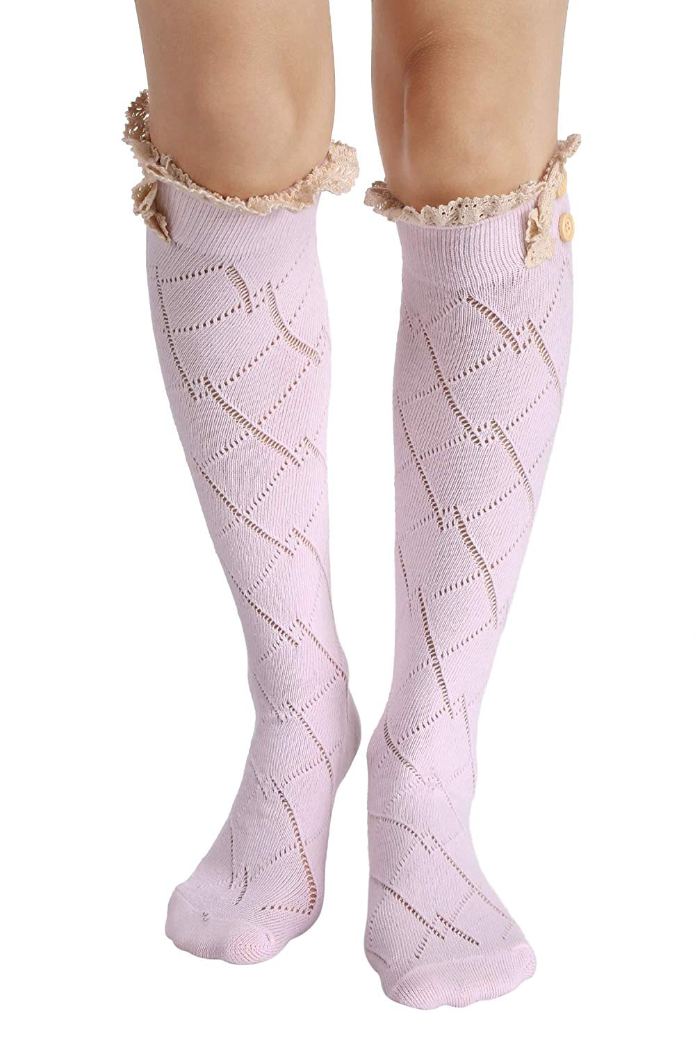 ef4d0edc627 Get Quotations · Dethler Womens Sexy Bow Boot Socks Lace Trim Long Leg  Warmer Soft Socks