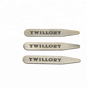 engraved brand logo metal collar stays for mens' shirt,steel stainless thickness collar stays
