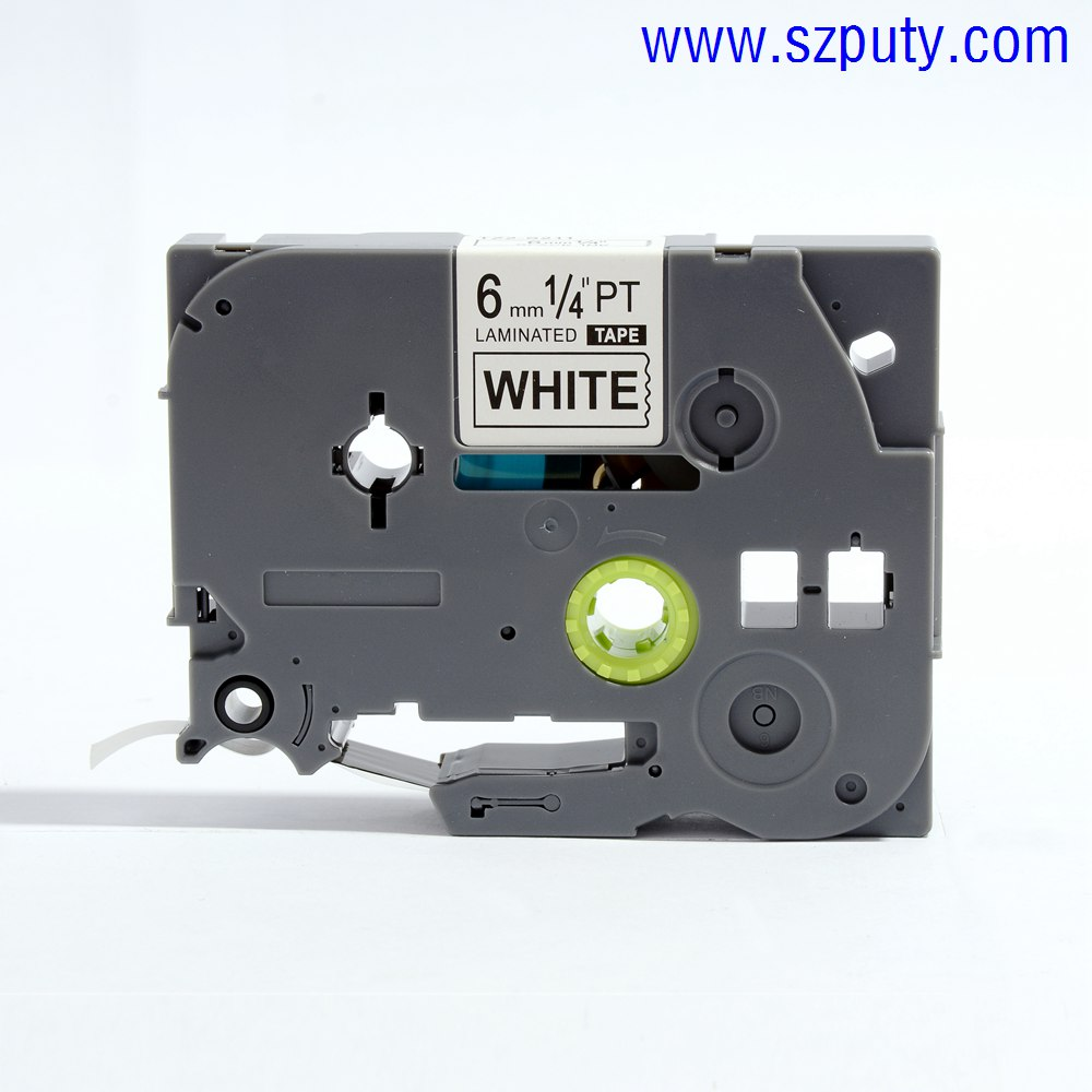 Brother p-touch TZ2-S211/TZe-S211 6mm Black on White Label Tapes Waterproof Ink Ribbon for Brother Manual Typewriter