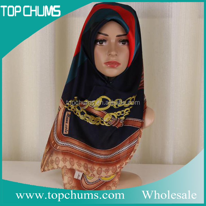 Custom cheap square silk turkish hijab wholesale
