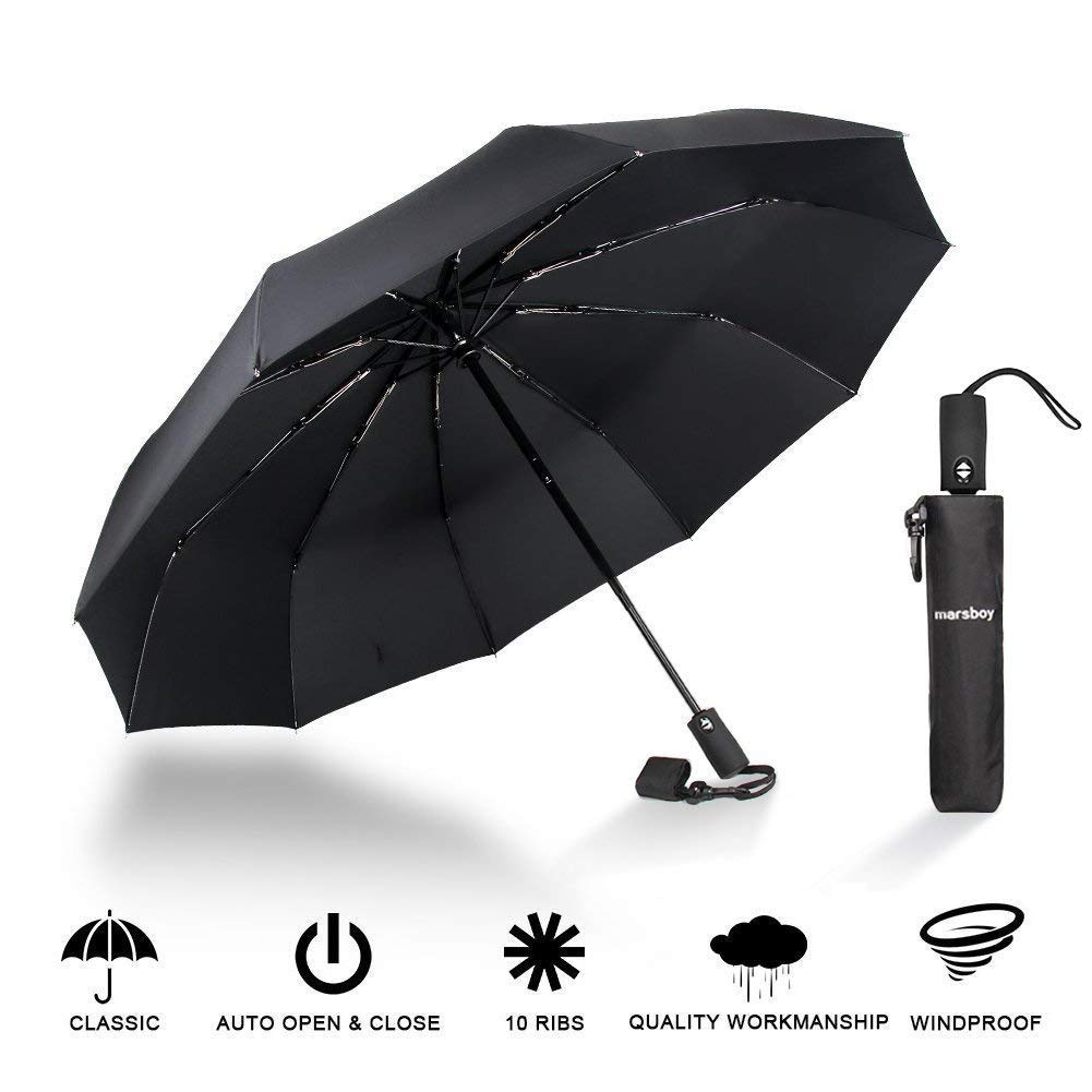 Travel Umbrella - 10 Ribs Auto Open Close Compact Travel Umbrella - Lightweight Folding Windproof Automatic Travel Umbrella with Heavy Duty - Fits in Luggage and Handbag