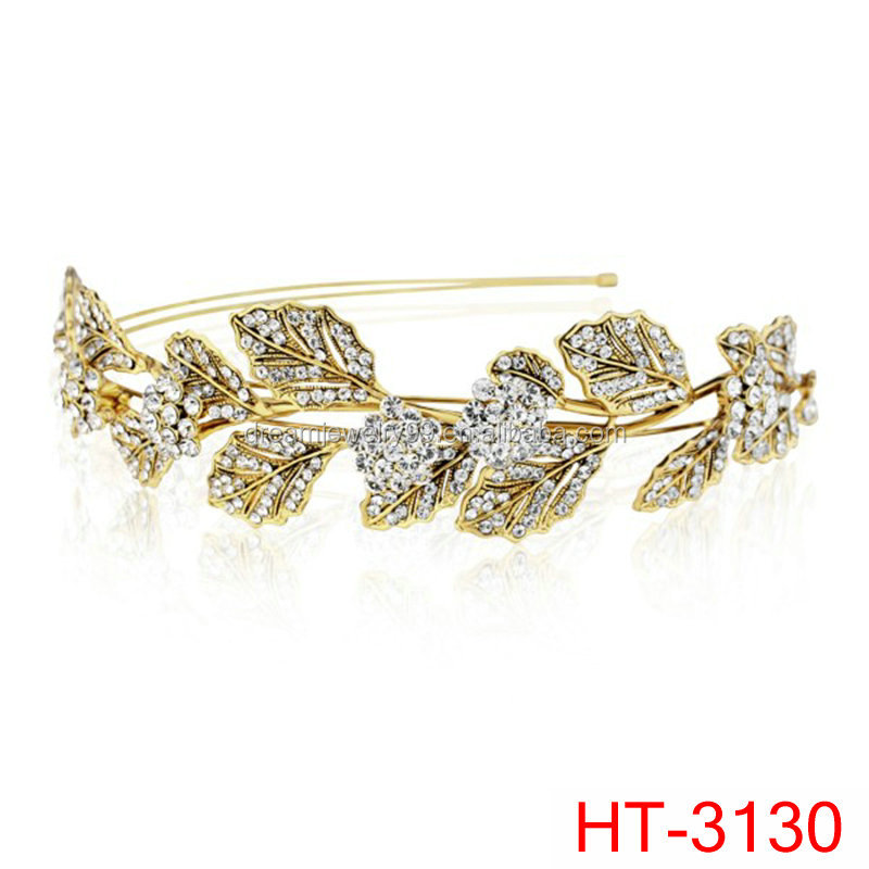 gold tiaras leaves bridal jewelry fashion hair accessories golden leaf side tiara
