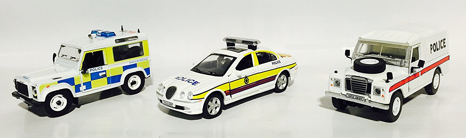 UK Police set of 3 metal models in scale 1:43 comes with Amercom magazine (Land Rover Series III 109 Police, Jaguar S-Type North Yorkshire Police, Land Rover Defender Norfolk Police) [Amercom PL-2S]