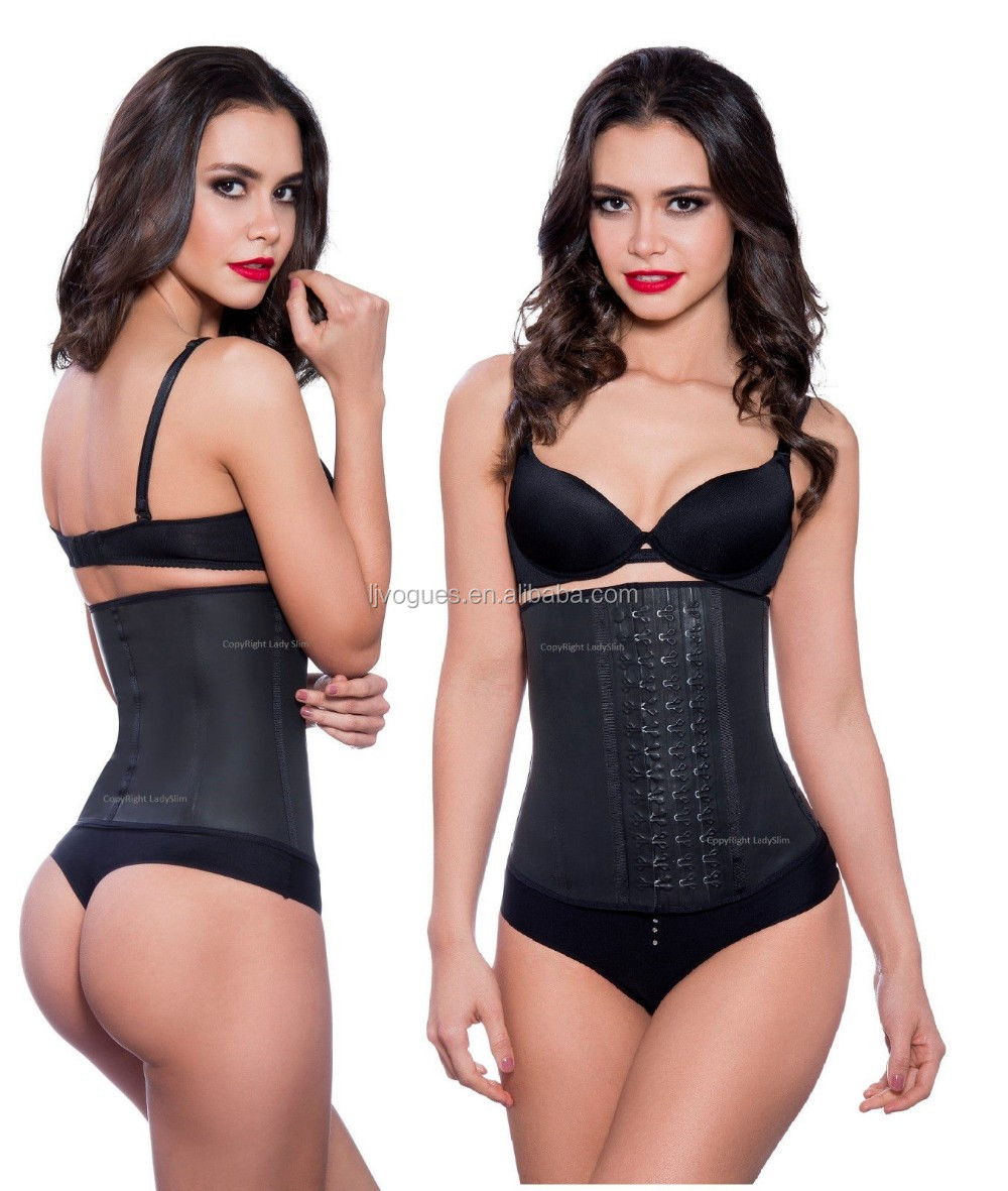 Wholesale In Stock Cheapest black latex waist trainer 3 hook 100% rubber slimming tranning corset hot sexi photo image
