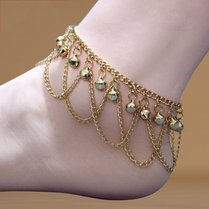 Belly Dance Accessories Sexy Belly Anklets For Women Wavy Tassel Bells Golden Metal Anklets Practice Wear DN1648
