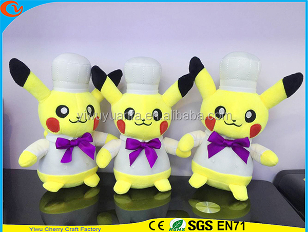 Hot Selling Novelty Design Stuffed Pokemon Go Pocket Monsters Plush Toy Cook Pikachu Doll