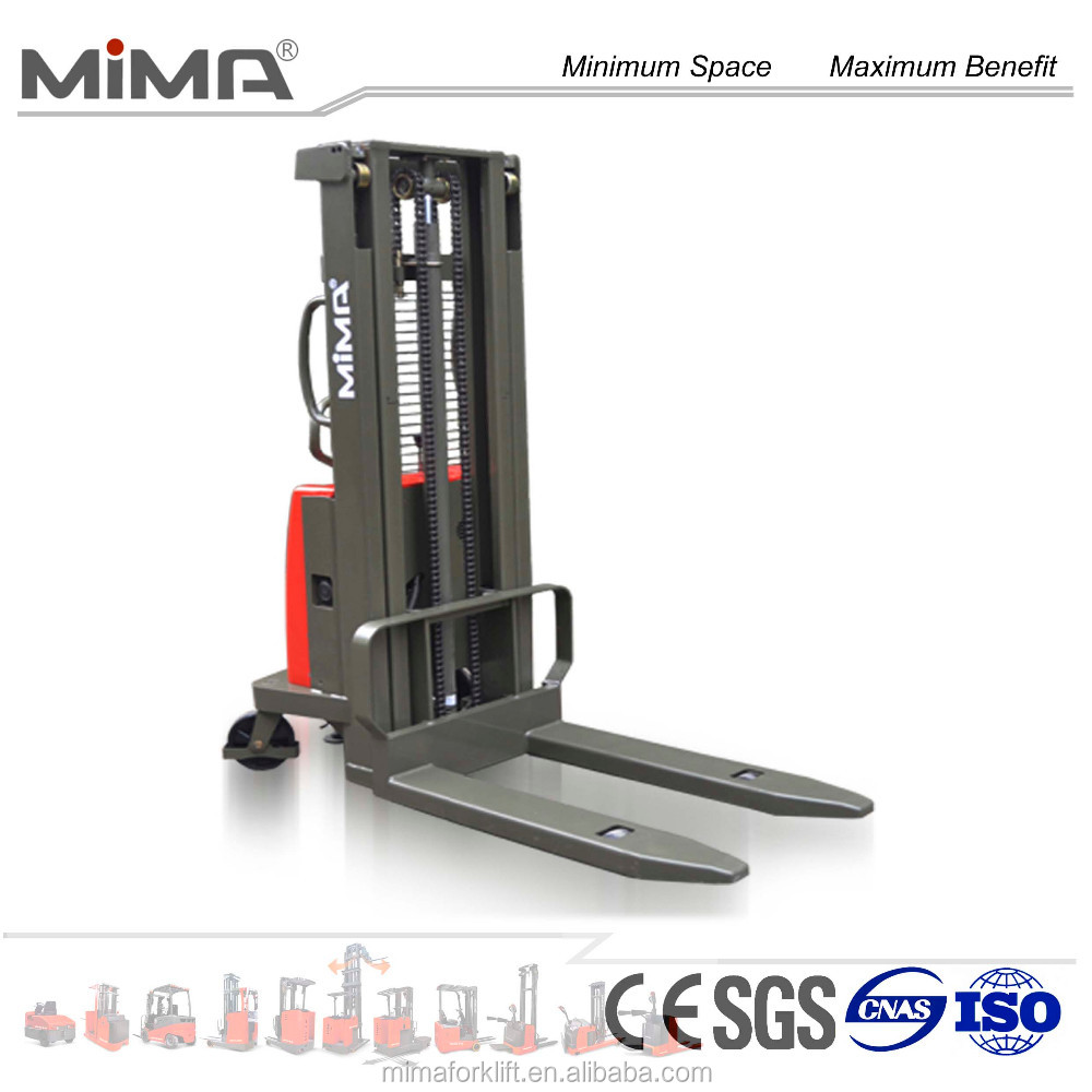 semi-electric pallet stacker with wide legs