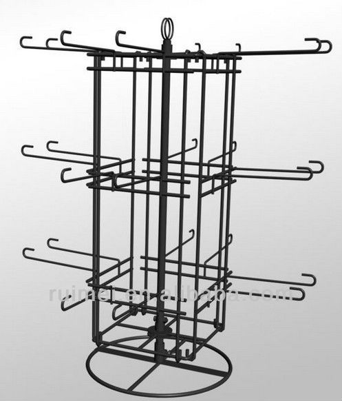 Commercial Four sided Turnable stackable Wire Metal Display Rack Stand chromed plated