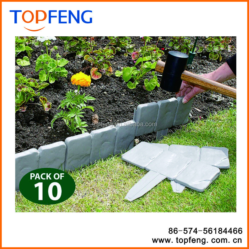 Cobbled Stone Effect Lawn Edging Set Of 10/ 10pcs Lakeland Cobbled Stone  Effect Plastic