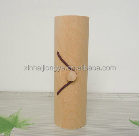 Single Bottle Cylinder Gift Boxes Round Wooden Wine Box