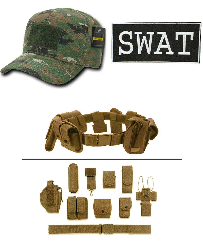 Woodland Digital Cap + ENFORCEMENT ID SWAT + Tan Duty Belt Holster