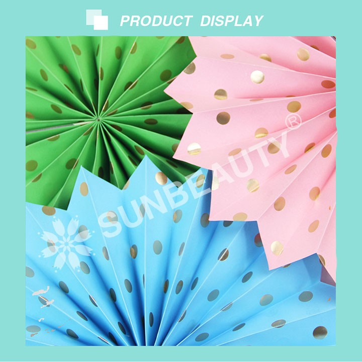 2017 Sunbeauty Gold Polka Dot Paper Fans for Baby Shower Backdrops