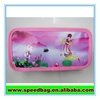Pink PVC picture print pen bag pencil case calculator color pencil case