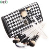 16-Piece White Wood Handle Travelling Vegan Brush Tools Set With Pouch