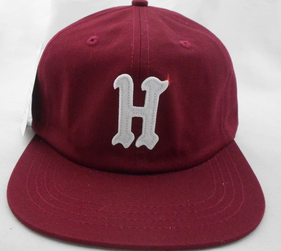 Washed red cotton unstructured snapback hat front H felt applique snapback hats