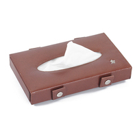 New design elastic straps PU leather smile tissue box for Car