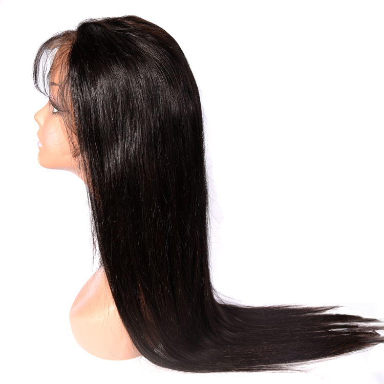 Overnight delivery cuticle aligned hair the indian straight human hair lace front wig with bangs