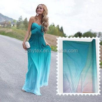 Green White 2 Tone Wedding Dress Material Gradient Shade Chiffon